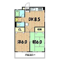 本村コーポ[206号室]の間取り