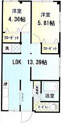 KATSUSHICHI,BLD六番館[201号室]の間取り