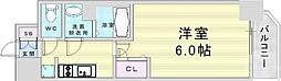 阪急神戸本線 中津駅 徒歩6分の賃貸マンション 6階1Kの間取り
