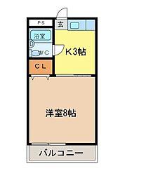 カレッジハウス[3-D号室]の間取り
