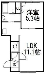 北海道札幌市西区西町北9丁目の賃貸マンションの間取り