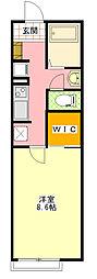 小田急小田原線 相模大野駅 バス14分 大野台八丁目下車 徒歩1分の賃貸アパート 1階1Kの間取り