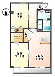 シャトー下米田[1階]の間取り