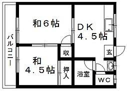 六軒コーポ[203号室]の間取り