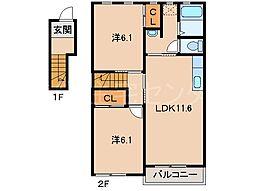 クレストモナークK[2階]の間取り