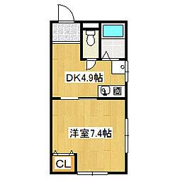 兵庫県宝塚市中野町の賃貸マンションの間取り