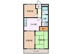 三重県四日市市垂坂町の賃貸アパートの間取り