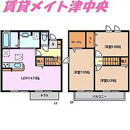 [テラスハウス] 三重県津市観音寺町 の賃貸【/】の間取り