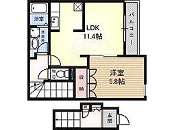 南海高野線 萩原天神駅 徒歩9分の賃貸アパート 2階1LDKの間取り