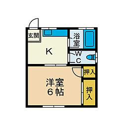 OCHIAI APART[2階]の間取り
