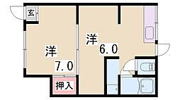 長楽町2丁目貸アパート[1階]の間取り
