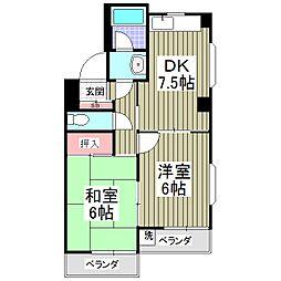 埼玉県吉川市木売2の賃貸マンションの間取り