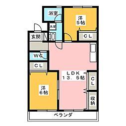 愛知県岡崎市上里2丁目の賃貸マンションの間取り
