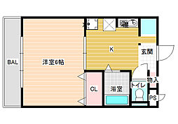 JPアパートメント柏原[3階]の間取り