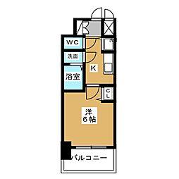 プレサンス錦プレミアム 2階1Kの間取り