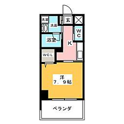 アリエッタNagoya 3階1Kの間取り