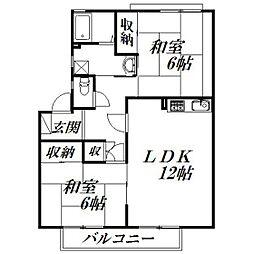 静岡県浜松市北区細江町気賀の賃貸アパートの間取り