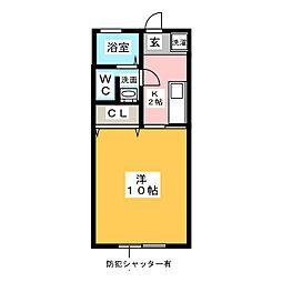 上豊田コーポ加知II 2階1Kの間取り
