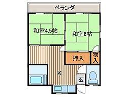 澤田荘[102号室]の間取り