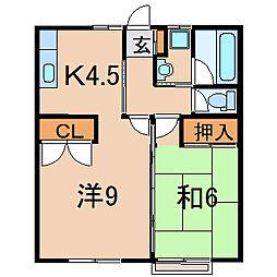 福島県福島市瀬上町字南中川原の賃貸アパートの間取り