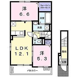 上石川アパートA[201号室]の間取り