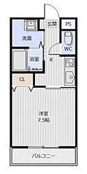 JR牟岐線 二軒屋駅 徒歩9分の賃貸マンション 3階1DKの間取り