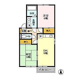 シャトレ・モリヤマD[1階]の間取り