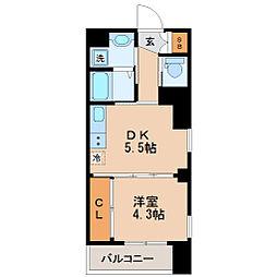 仙台市地下鉄東西線 大町西公園駅 徒歩2分の賃貸マンション 4階1DKの間取り