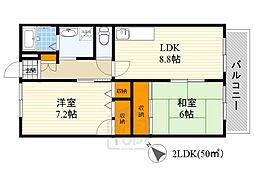JR東海道・山陽本線 吹田駅 徒歩5分の賃貸アパート 1階2LDKの間取り