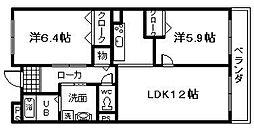 南海線 樽井駅 徒歩20分の賃貸マンション 2階2LDKの間取り
