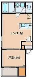 カトレア箱崎 2階1LDKの間取り