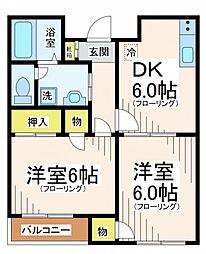 東京都世田谷区北烏山8丁目の賃貸アパートの間取り