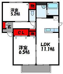 K'sガーデンコートA[2階]の間取り