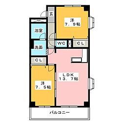 愛知県名古屋市中川区野田2の賃貸マンションの間取り