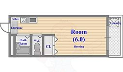 YKマンション 2階ワンルームの間取り