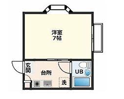JR中央線 国分寺駅 徒歩8分の賃貸アパート 2階1Kの間取り
