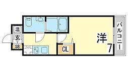 神戸市西神・山手線 長田駅 徒歩4分の賃貸マンション 12階1Kの間取り