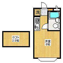 セゾンフローラB[2階]の間取り