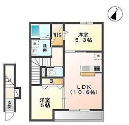 袖ケ浦市奈良輪2621番地新築アパート[202号室]の間取り
