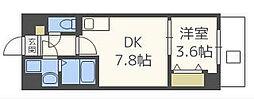 サンライズ今川 3階1DKの間取り