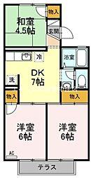 岡山県倉敷市沖の賃貸アパートの間取り