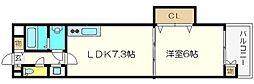 ゼフェロス南堀江[3階]の間取り