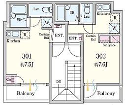 東京都足立区中央本町1の賃貸アパートの間取り