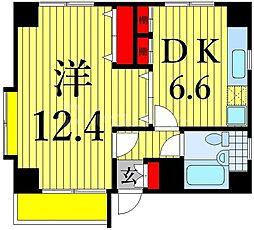 JR高崎線 尾久駅 徒歩15分の賃貸マンション 3階1DKの間取り