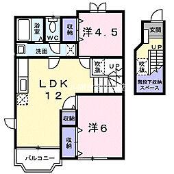 岡山県倉敷市下津井2丁目の賃貸アパートの間取り