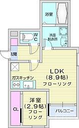JR仙石線 宮城野原駅 徒歩7分の賃貸アパート 1階1LDKの間取り