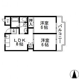 シャンポール東大阪[207号室号室]の間取り