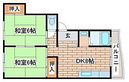 兵庫県神戸市須磨区菊池町2丁目の賃貸マンションの間取り