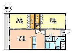 兵庫県小野市大島町の賃貸マンションの間取り