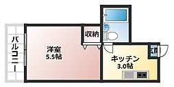 大阪府大阪市北区本庄西2丁目の賃貸マンションの間取り